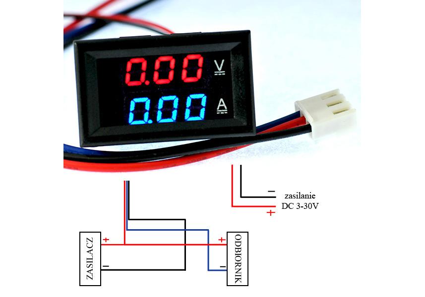 Schemat połączeń amperomierza dla małych prądów