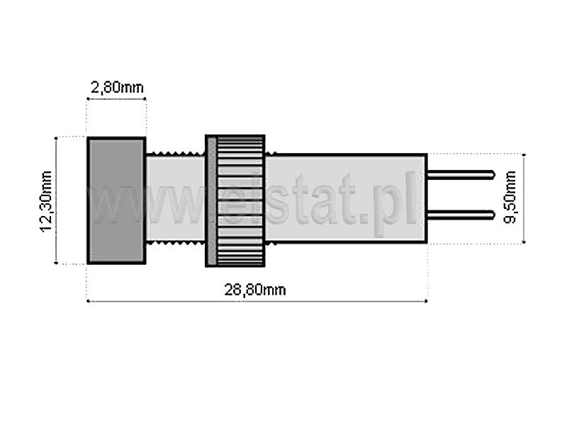 Wymiary kontrolki  5mm