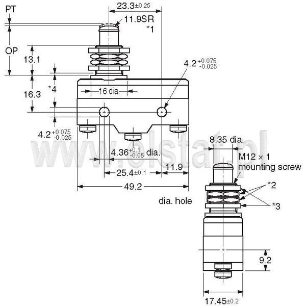 Wyłšczniki krańcowe Z15G-B_wymiary