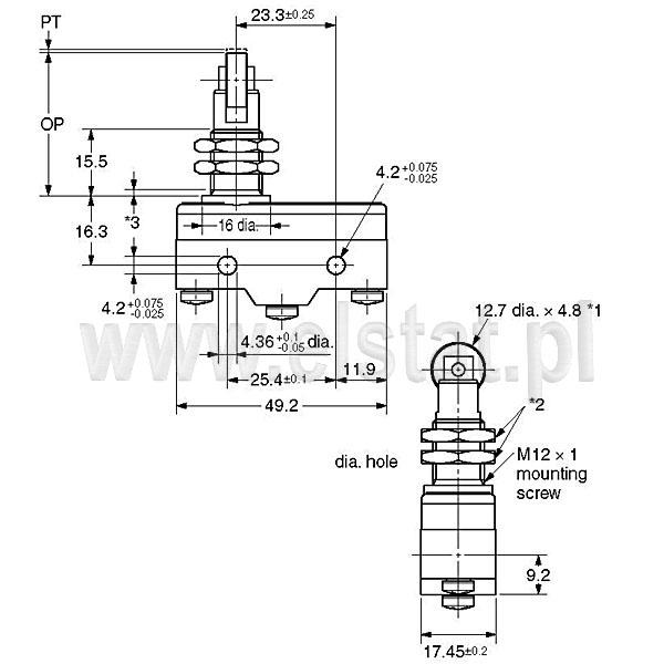 Wyłšczniki krańcowe Z15GQ21-B wymiary