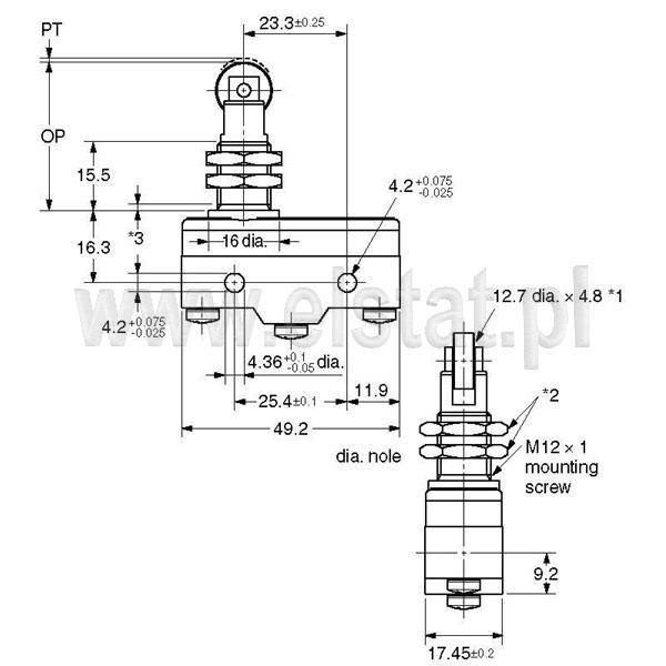 Wyłączniki krańcowe Z15GQ22-B wymiary