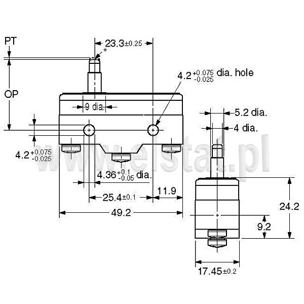 Wyłšczniki krańcowe Z15-G1305 wymiary