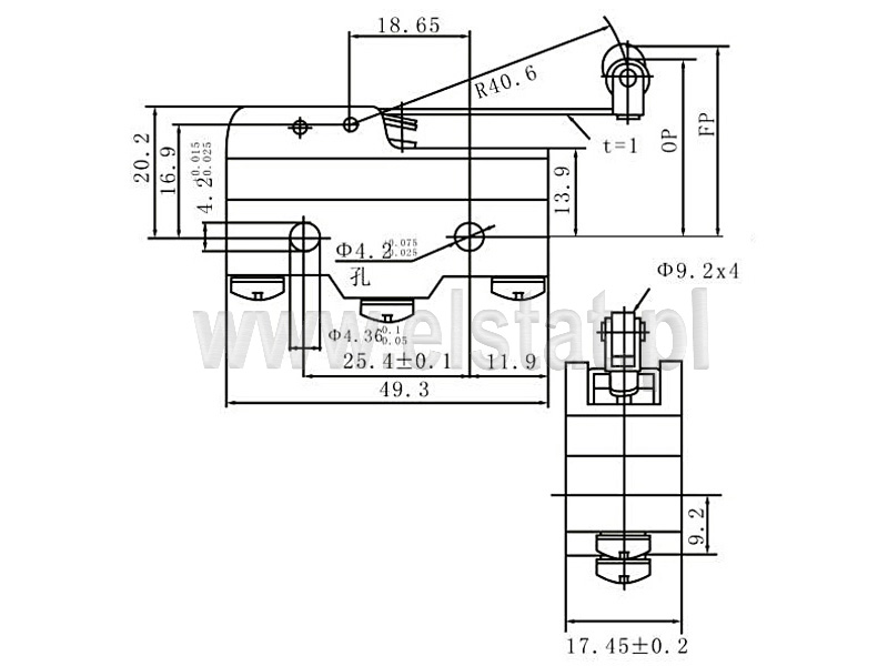 Wyłšczniki krańcowe Z15-G1703 wymiary