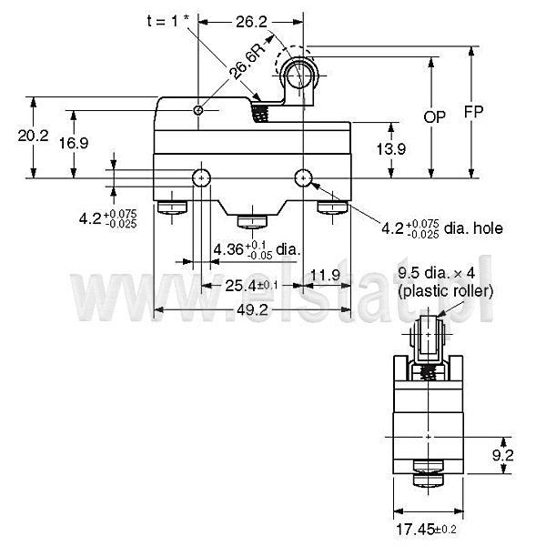 Wyłączniki krańcowe Z15GW22-B_wymiary