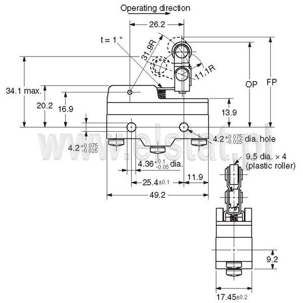 Wyłączniki krańcowe Z15GW2277-B_wymiary