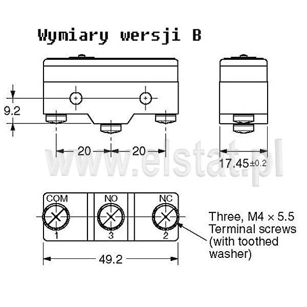Wyłączniki krańcowe Z15 wymiary wersji B