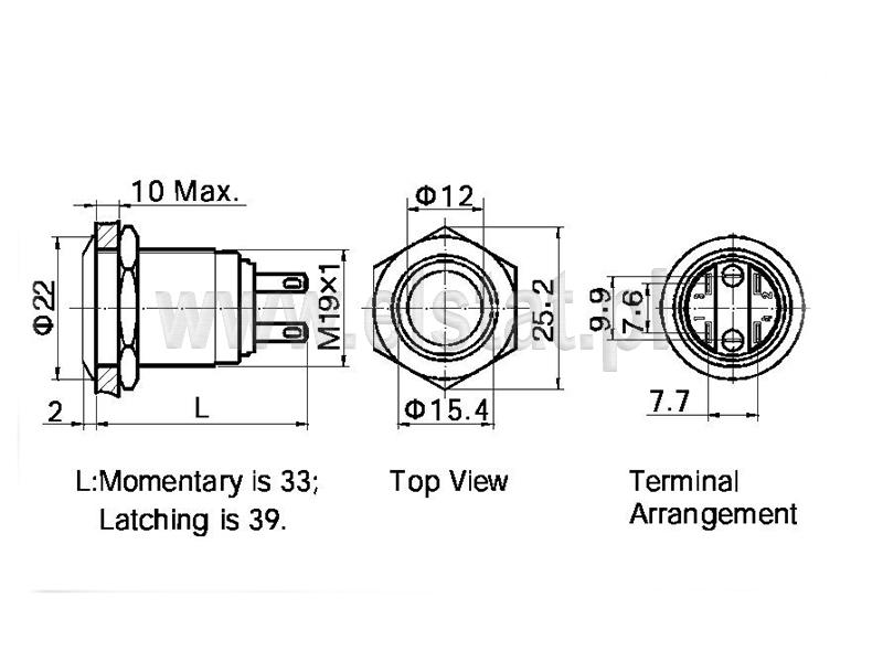 Wymiary przycisku LAS1
