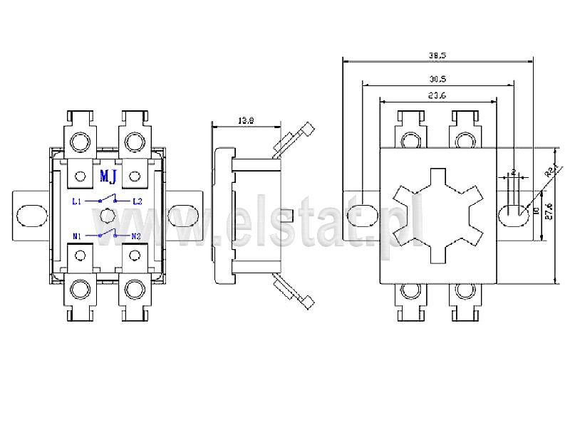 Wymiary termostatu bimetalicznego płaskiego