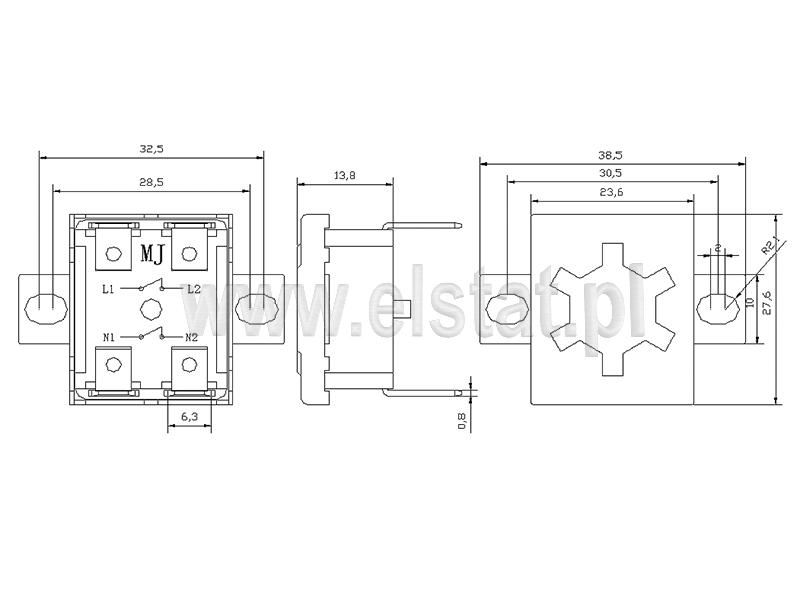 Wymiary termostatu bimetalicznego płaskiego piny pionowe