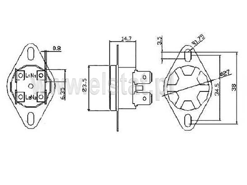 Wymiary termostatu bimetalicznego