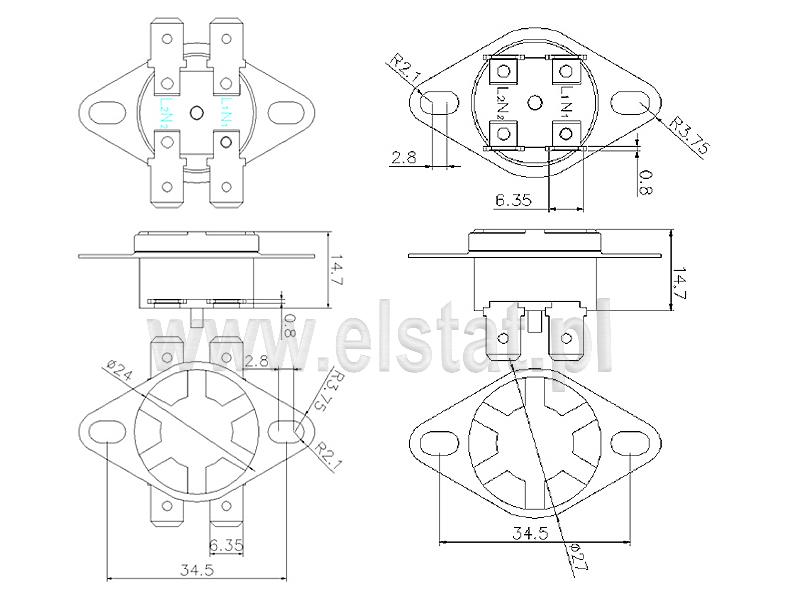 Wymiary termostatu bimetalicznego okrągłego 20A